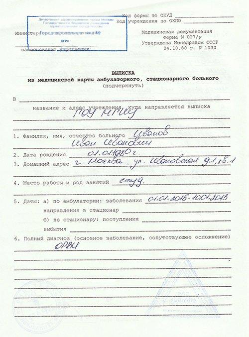 Медицинская справка 027/у Справка в ГАИ 003 в у Улица Юности (город Зеленоград)